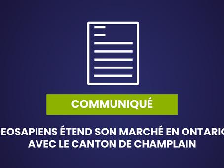 GEOSAPIENS ÉTEND SON MARCHÉ EN ONTARIO, AVEC LE CANTON DE CHAMPLAIN