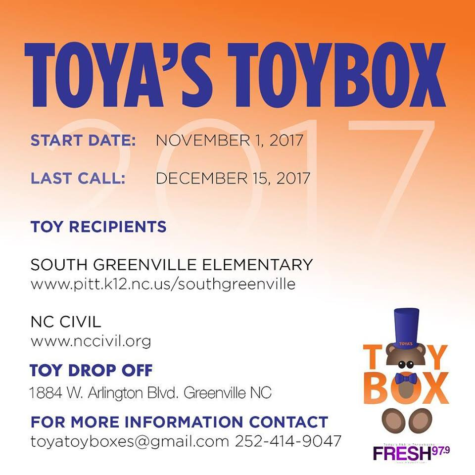 Information about drop off dates and times for Toya's Toybox give back to the community.