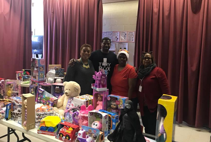 TS Jacobs and Co donating toy drive items to South Greenville Elementary School in Pitt County, NC.