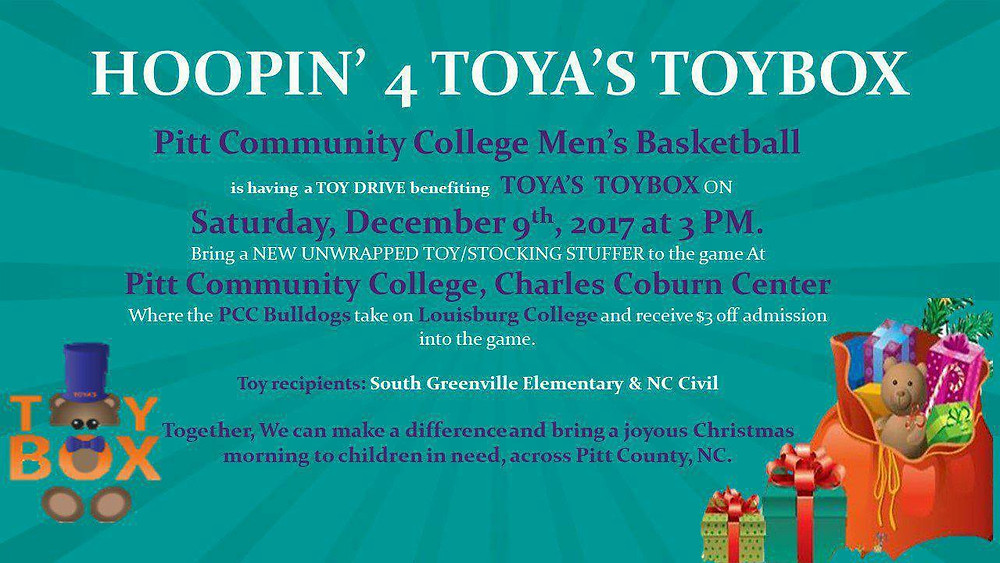 Toya's ToyBox partnering with the Bulldogs of Pitt Community College Men's Basketball team for a fundraiser toy drive.