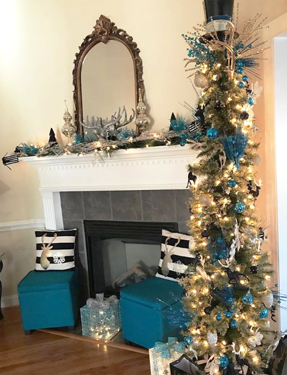 Upscale Holiday Decor with theme of Reindeer, gold, silver and teal accents,