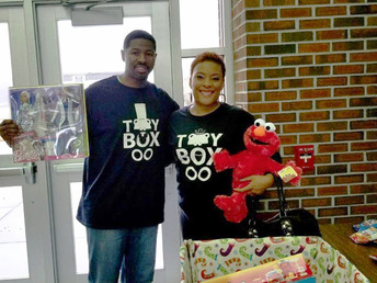 Inside Toya's Toy Box Toy Drive with Pitt Community College Mens Basketball Team.