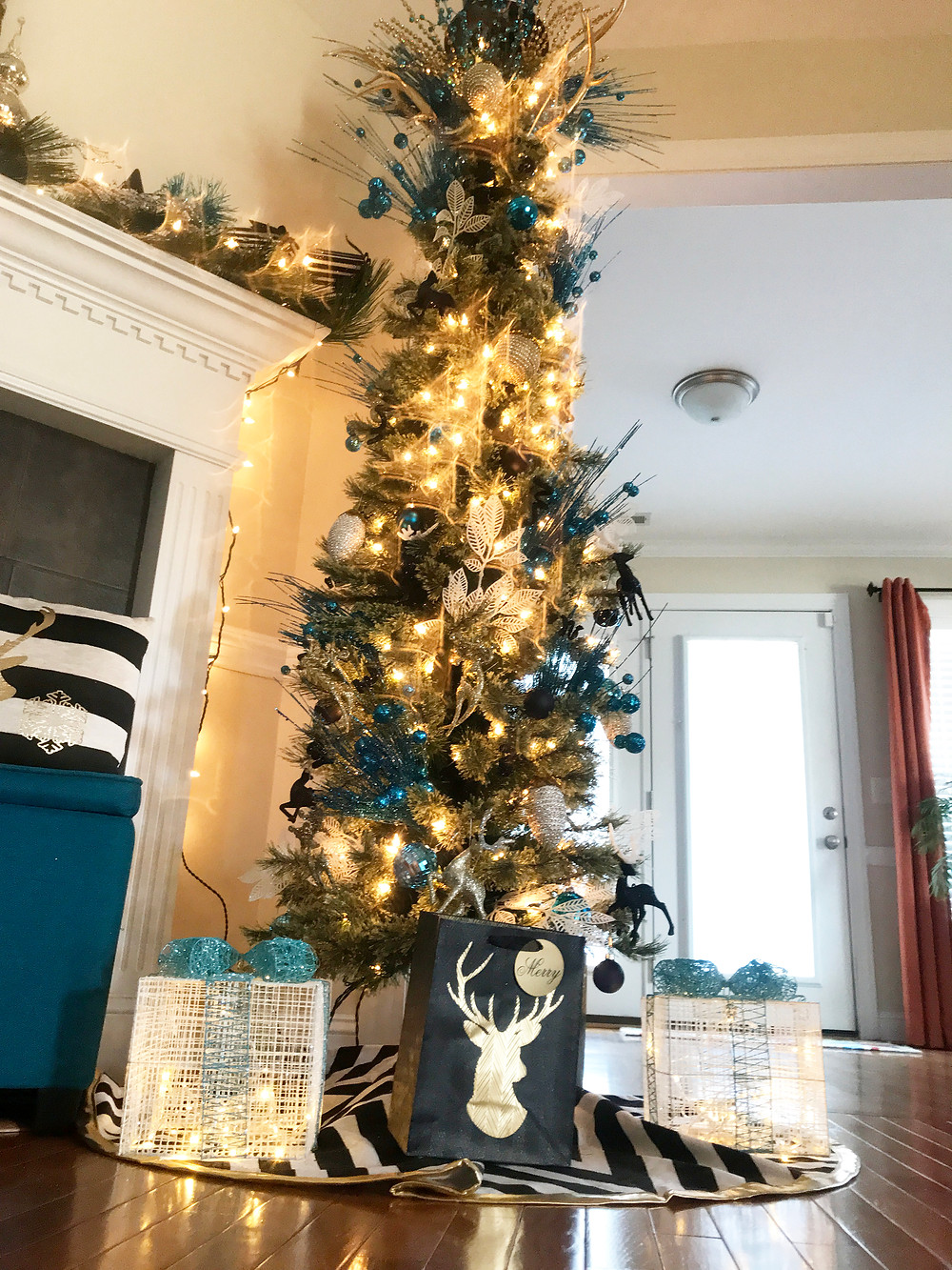 Another view of gold, teal, and silver Holiday Decor Styling for Christmas.