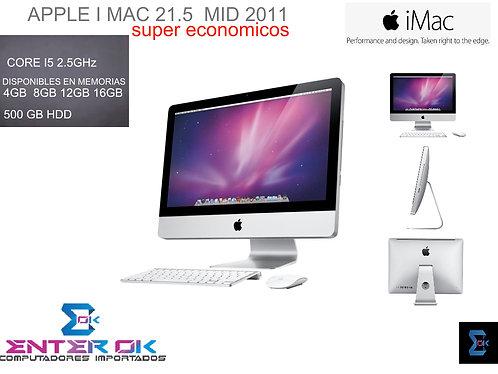 APPLE IMAC 21.5 MEDIADOS 2011, 500 GB HDD,  4GB, CORE i5 2.5 GHz