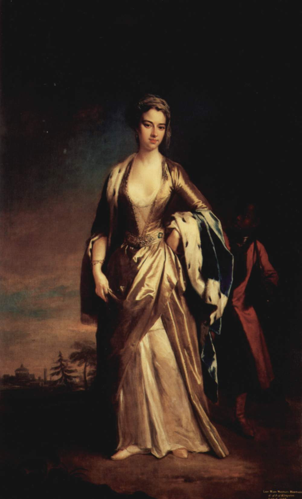 Oil painting of Lady Montagu. Here she is standing towards the painter