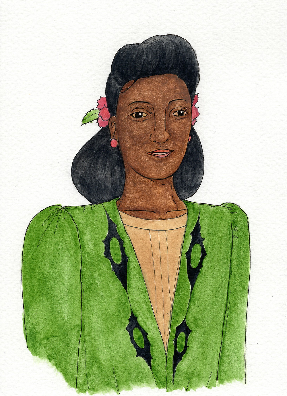 Henrietta Lacks. Watercolour and ink by Vintage Pill Box 2019