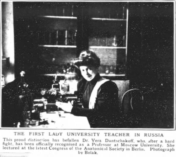 Newspaper showing Dr Vera Danchakoff in her laboratory