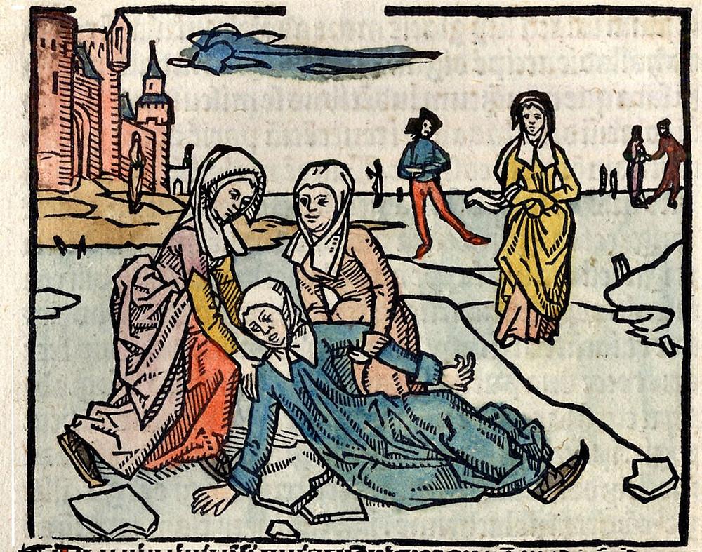 Illustration of Saint Lidwian - Johannes Brugman, Vita Lijdwine (Schiedam 1498). / Public domain