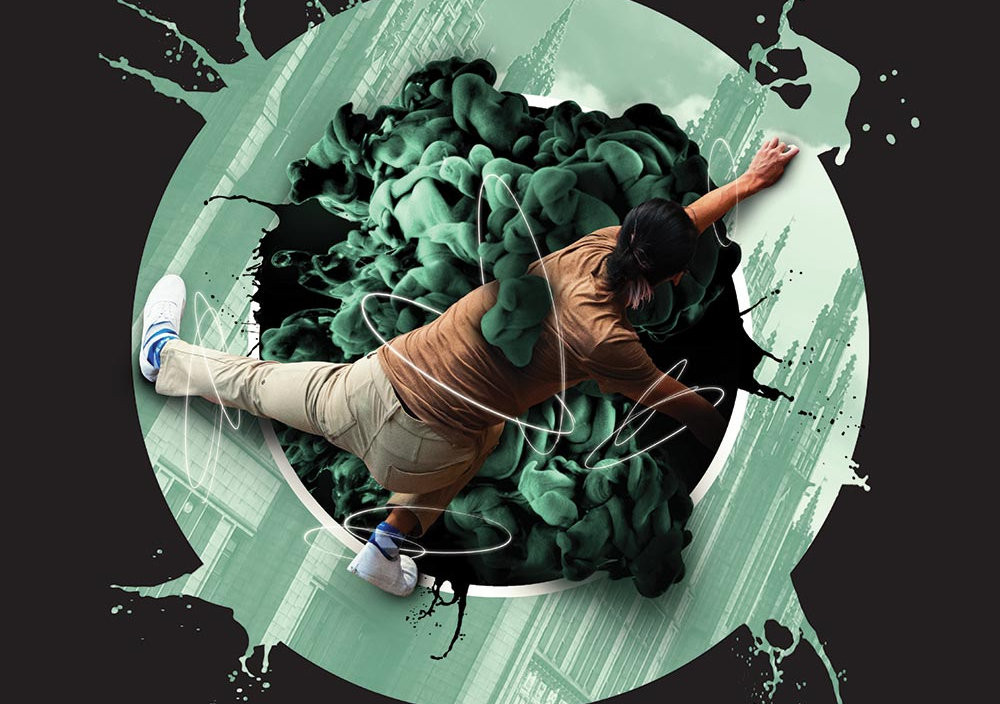 Poster design featuring dancer sketching on top of green bubble with smoke