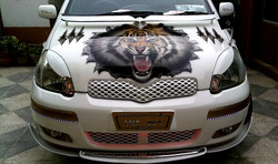 Tiger car front bonnet airbrushing