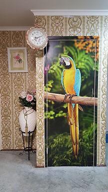 Door-Graphics-Birds-Macaw-B&Y