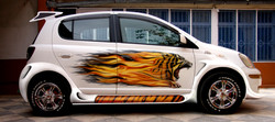 Tiger on fire airbrushing