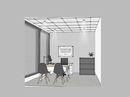 Bureau fermé avec porte vitrée (sans fenêtre)