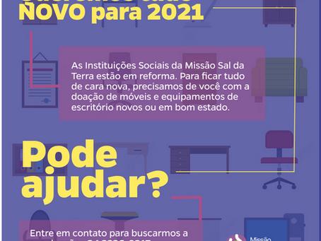 Instituições Sociais da Missão lançam campanha para renovar mobiliário.