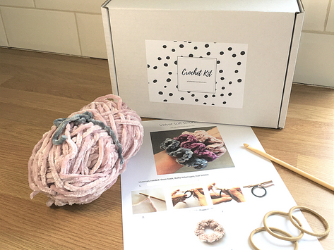Crochet your own velvet scrunchies - 90's style - New kit available in my Etsy shop