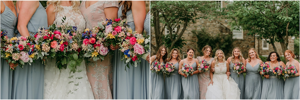 Hayley Paige dress and Dusty Blue Bridesmaid Dresses