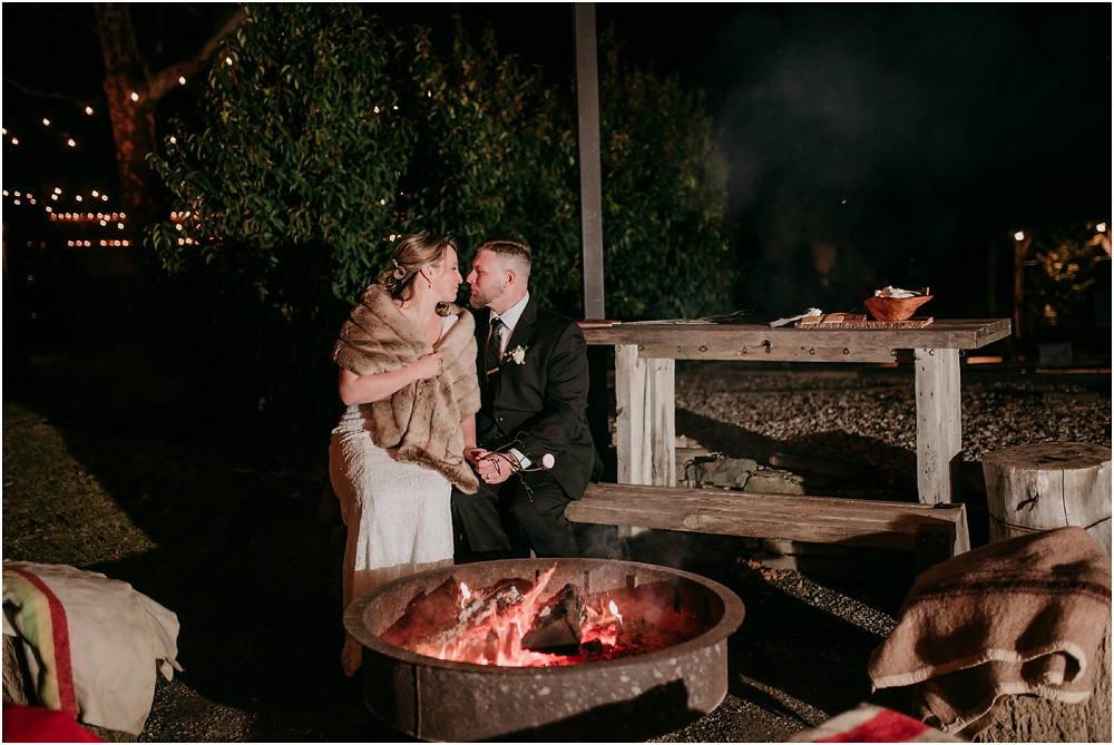 Campfire at Intimate Philadelphia Wedding at Terrain in Glen Mills PA