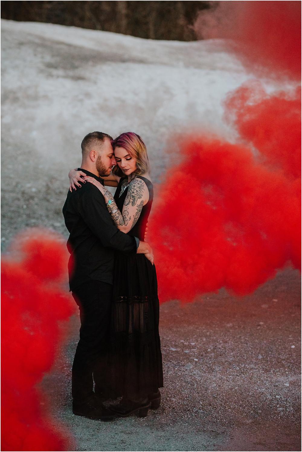 Smoke Bomb Moody Pennsylvania Engagement Session by Karen Rainier Photography