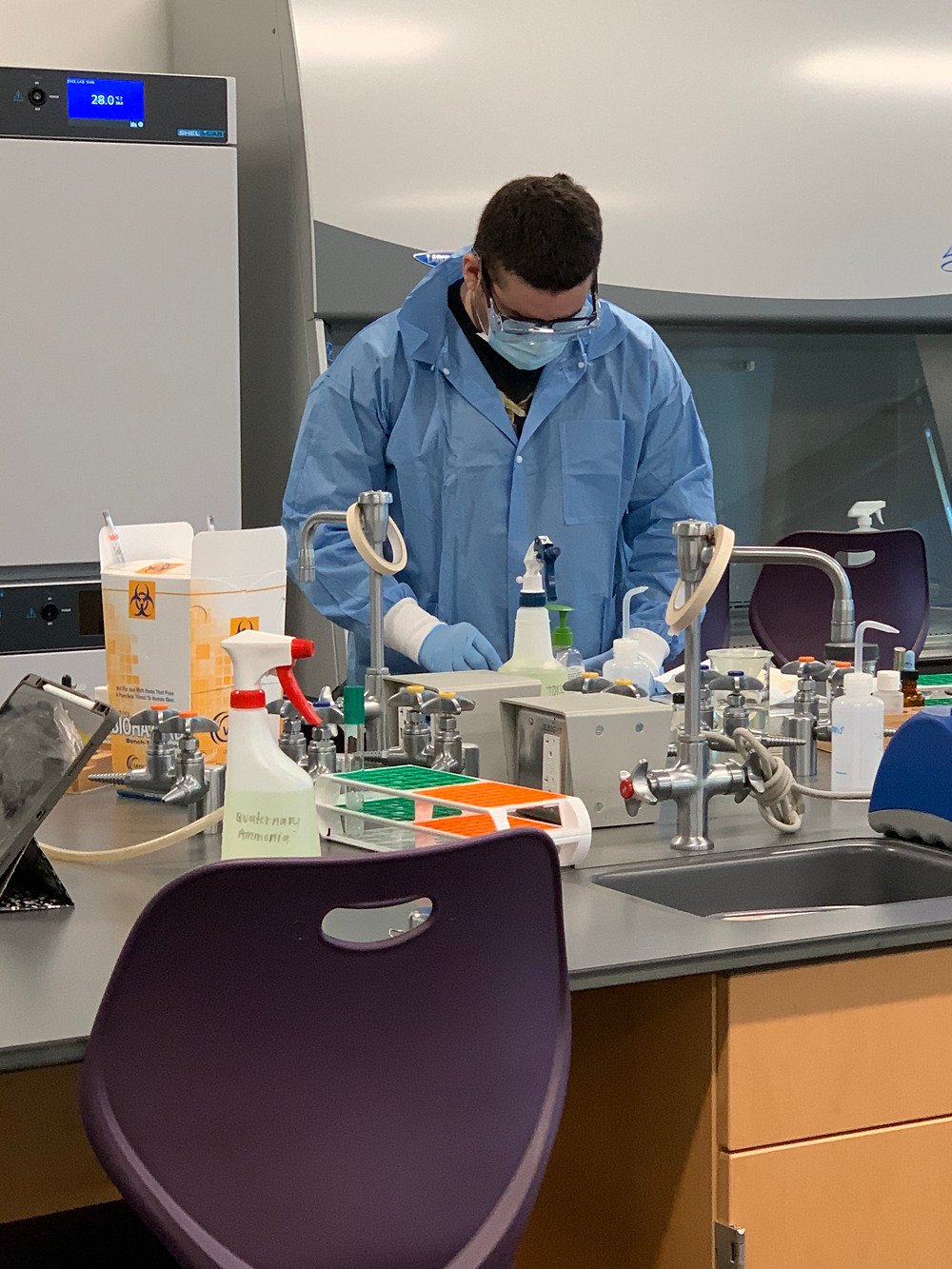 A student at his lab bench