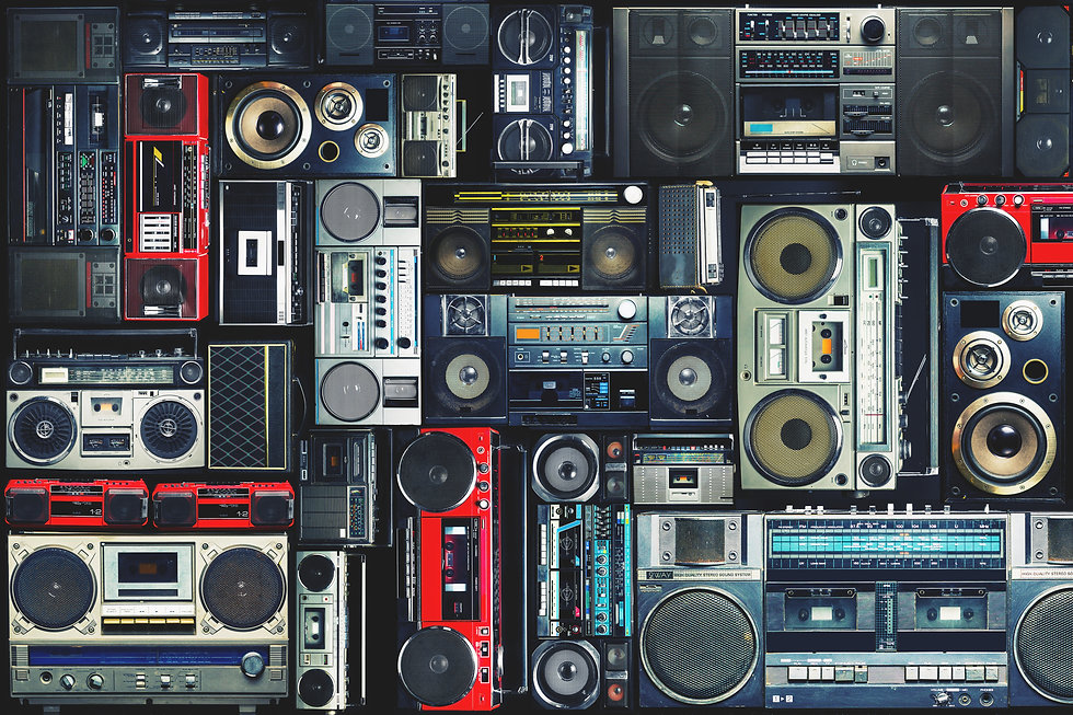 Vintage wall full of radio boombox of th