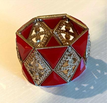 Red & Gold Stretchy Chunky Bracelet