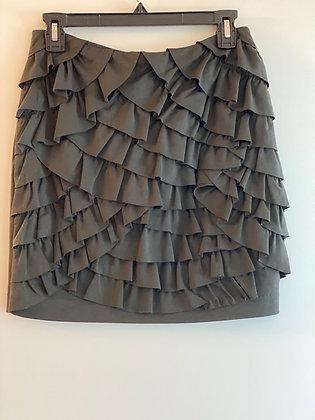 Army green ruffle mini skirt Sz. S