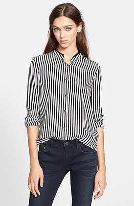 The Kooples Striped Blouse w/Leather Collar