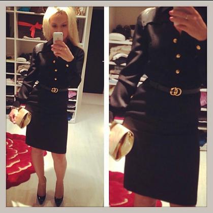 Gucci Dress w/Leather Collar and Belt Sz. 38