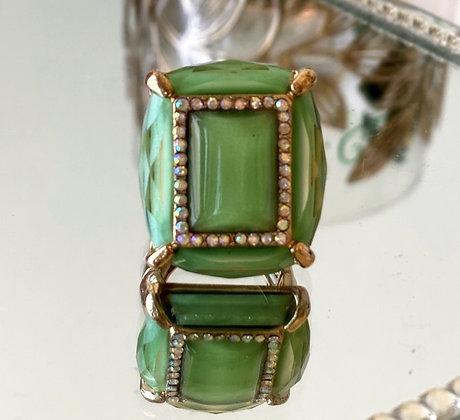 Green Rhinestone Adjustable Ring