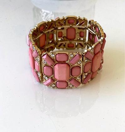 Pink Stretchy Beaded Bracelet