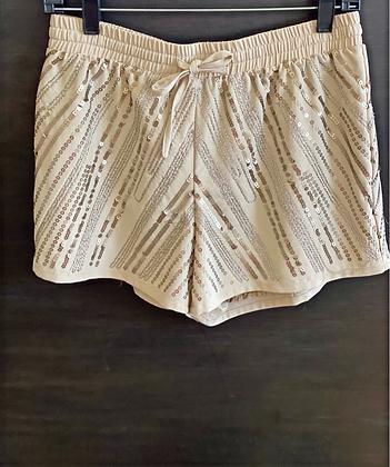 Bebe Sequin Drawstring Shorts