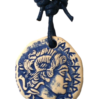 ceramic dublicate coin pendant  κεραμικό κρεμαστό αντίγραφο νομίσματος