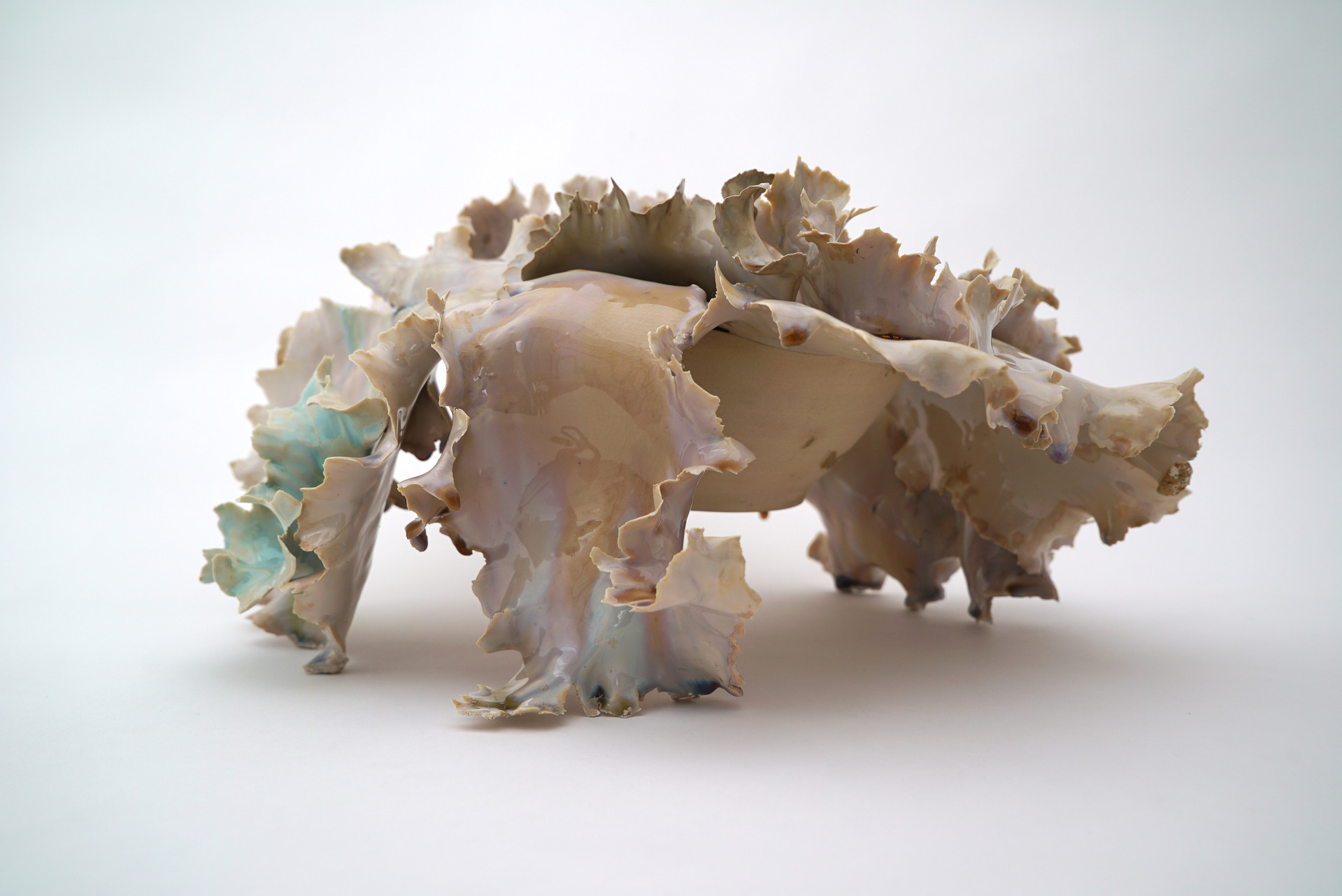"Cloud House, 2019 porcelain, ceramic glaze 10""h x 18""w x 19""d Private Collection"