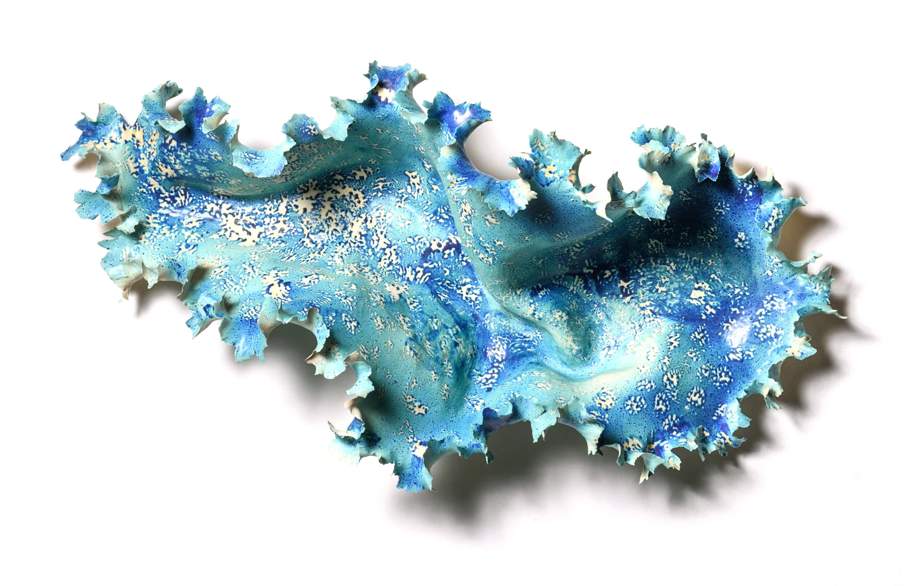 "Inside, 2019 porcelain, ceramic glaze 18"" H x 37"" W x 11"" D Private Collection"