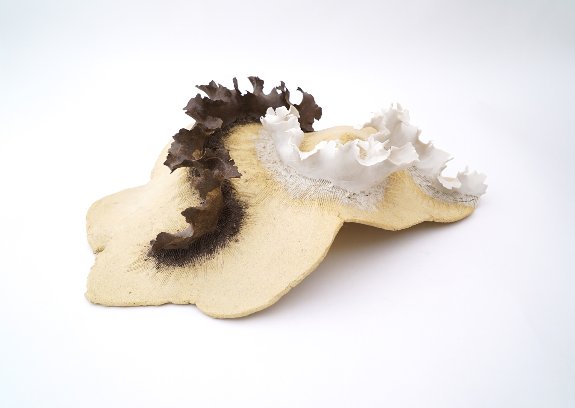 """Circling, 2019 porcelain, stoneware 20""""h x 18""""w x 8""""d AVAILABLE"""