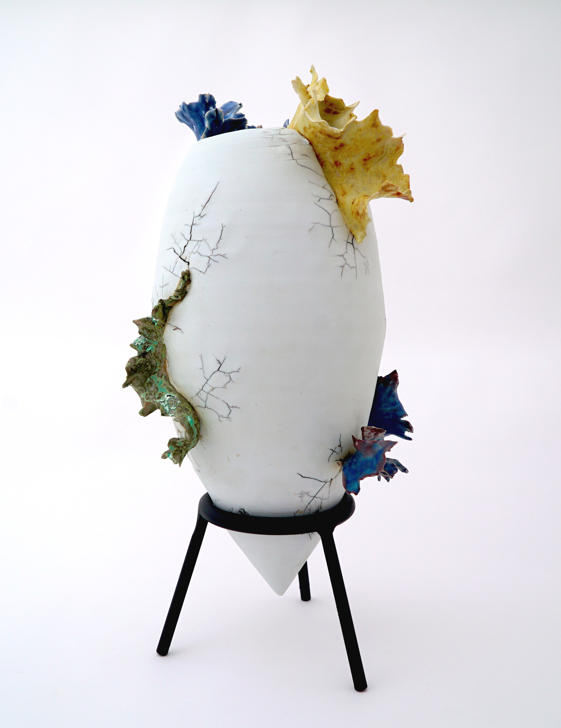 "New Life, 2019 porcelain, ceramic glaze 18""d x 9""d x 9""d Private Collection"