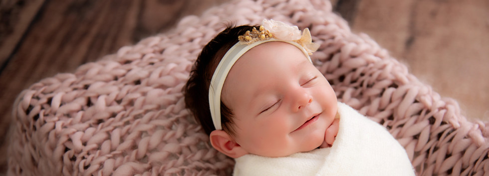 Smiling Baby at Newborn Session Connecticut