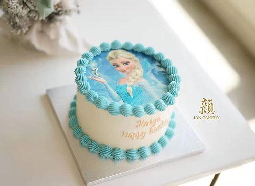 Elsa image cream cake