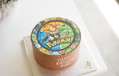 Pokemon image cream cake