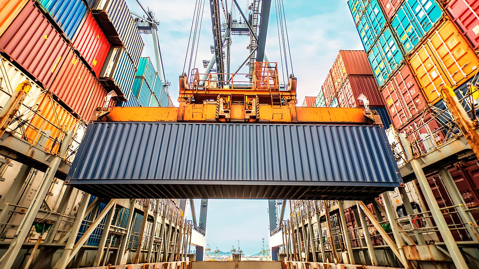 Container loading in a Cargo freight ship with industrial crane. Container ship in import and export