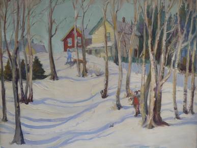 Houses in Snow, Raymond Ave