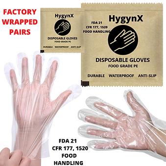 300 PCS Individually Sealed Disposable  Polyethylene (PE) Gloves  + Lux Bag