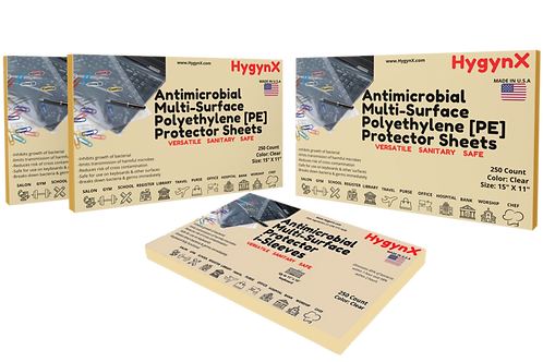"""Antimicrobial Multi-Surface  Protector Sheets 500,  250, 100 Units  15"""" X 11"""""""