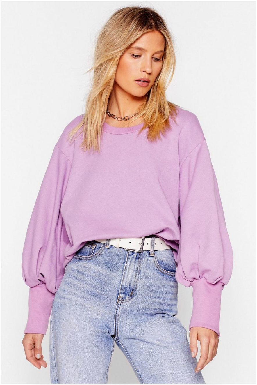 Coming Balloon Sleeve Oversized Sweashirt. In Lilac, size large. Normally $36, on sale $14.