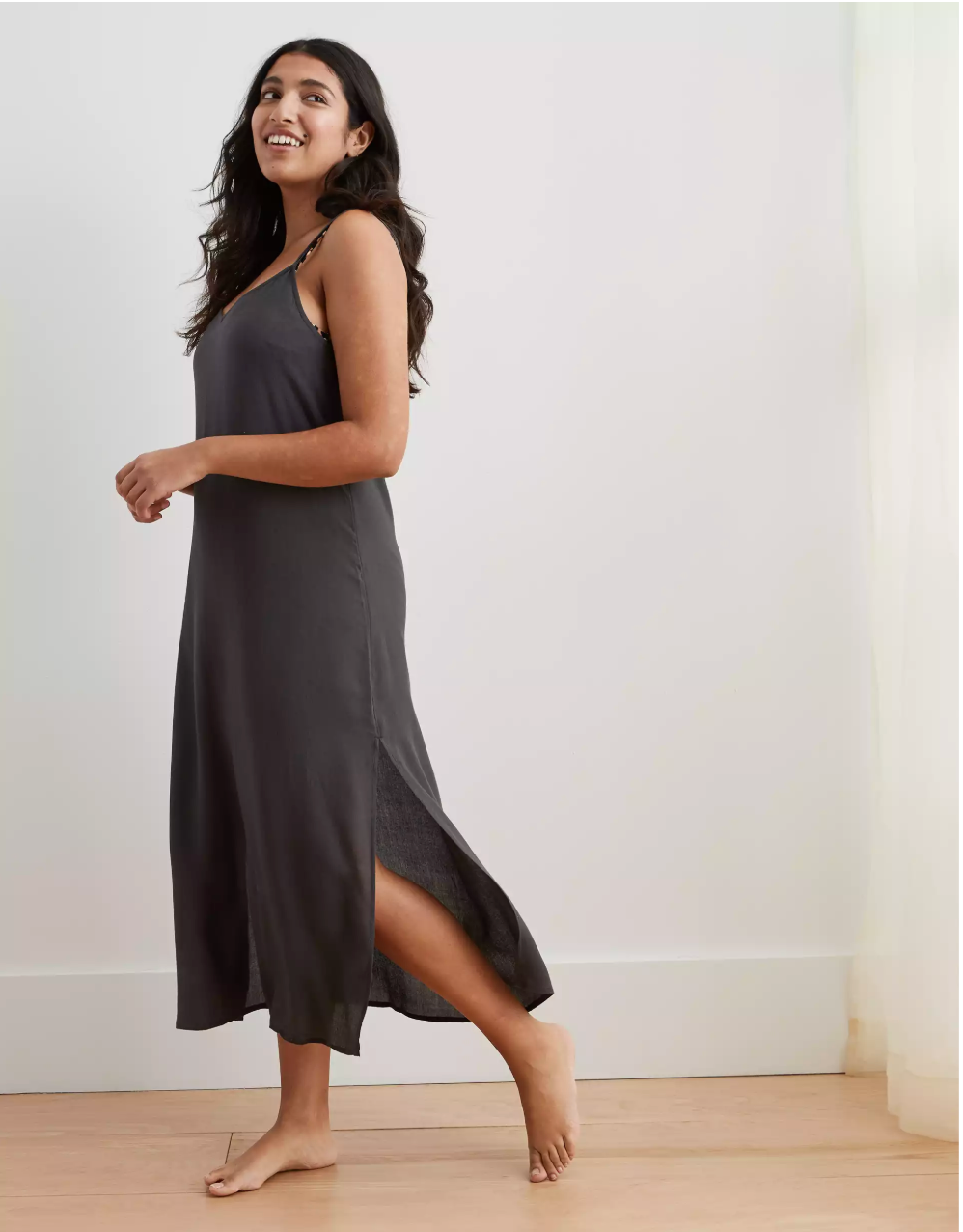 Aerie Gauze Midi Slip Dress, I got it in a smoked grey color on sale for $33 (normally about $45)