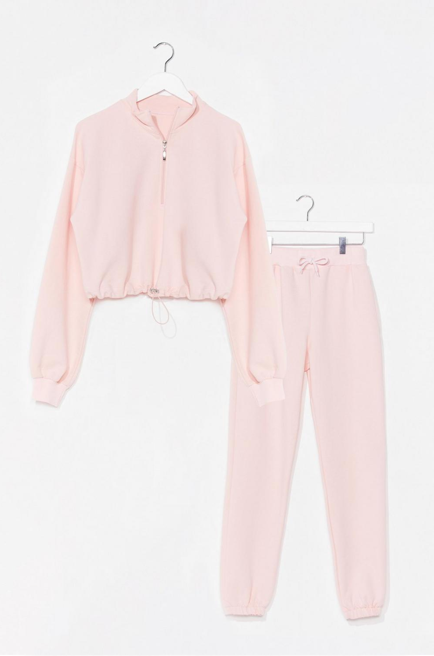 Sweater Weather Cropped Sweatshirt and Joggers Set, in pink size medium. Normally,  $74 on sale $30.