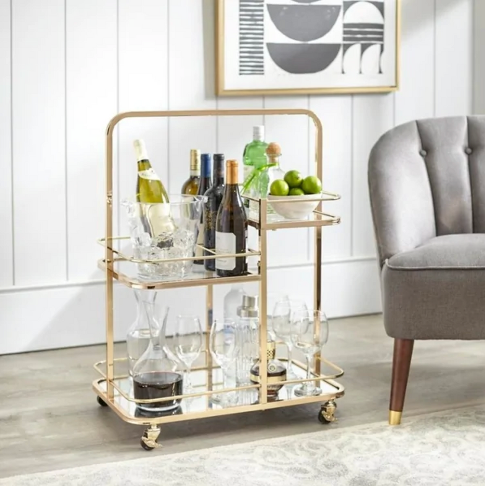 HOME Alcott 3-Tier Gold Metal Bar Cart from Overstock