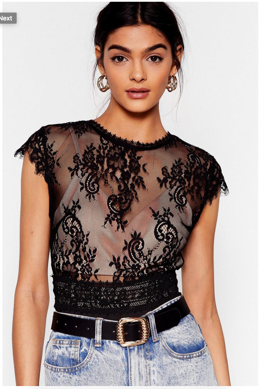 Take Your Lace Open Back High-Leg Bodysuit, in Black in a Large. Normally, $40 on sale for $16