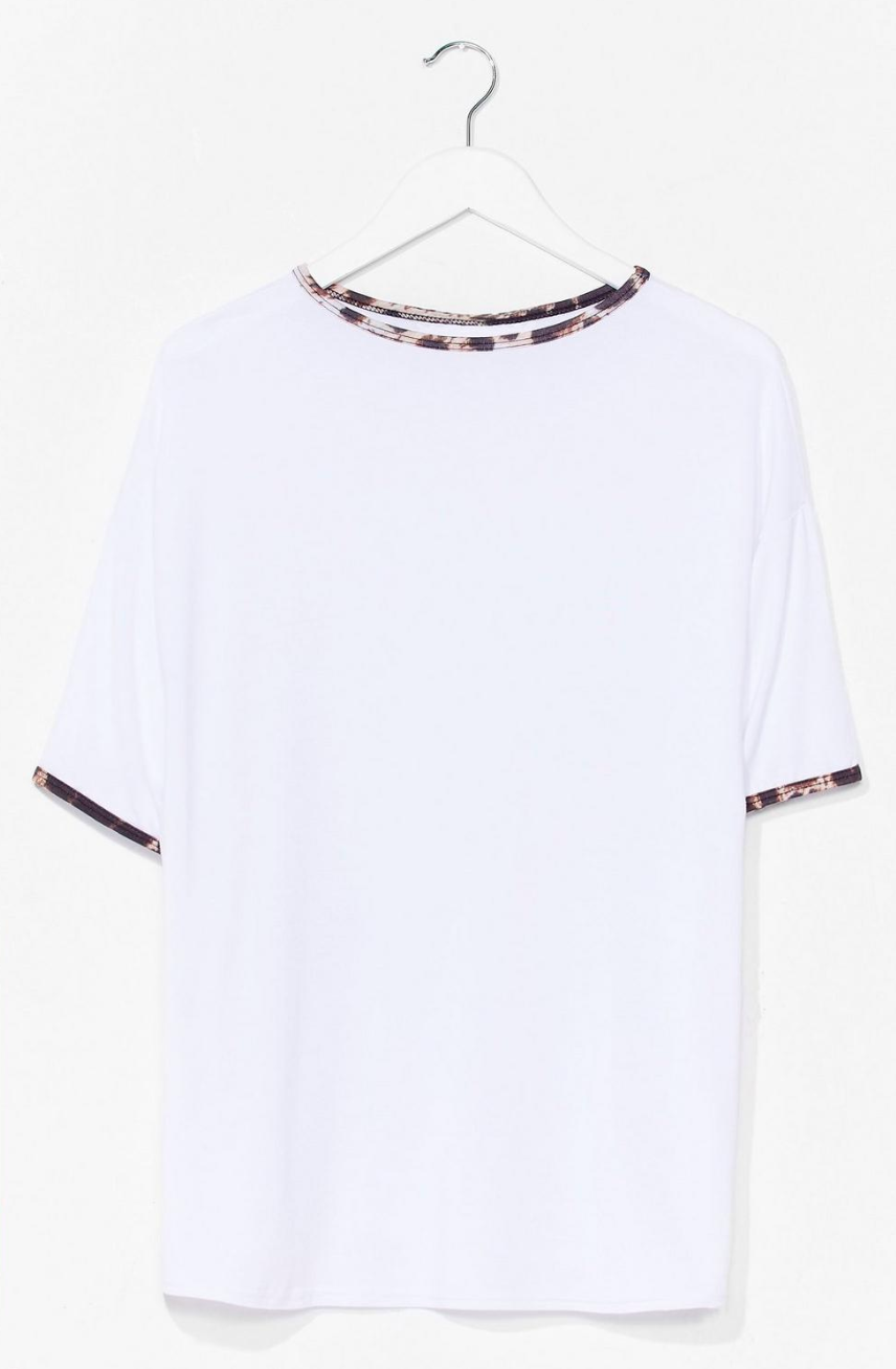 We Want Roar Leopard Ringer Tee, in white size 8. Normally $22, on sale for $8.80.