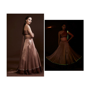 draped swarovski blouse and lehenga